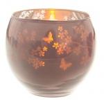 Teelichtglas rund verspiegelt in Flieder, 70 mm