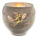 Teelichtglas rund verspiegelt in Grau, 70 mm
