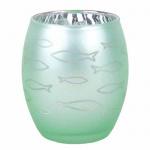 Glas Windlicht Fisch verspiegelt in Mint Grün, 90 mm