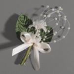 Anstecker Kommunion, Hochzeit Sternblüten mit Perlen in Creme, 80 mm