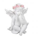 Engel mit Kranz aus Rosen, sitzend, Nr. 2