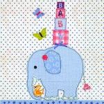 20er Pack Servietten Taufe Baby Elefant in Hellblau 33 x 33 cm