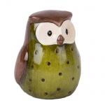 Keramik Eule in Grün/Braun glasiert, 75 mm