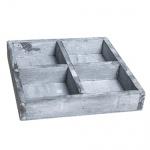 Holztablett quadratisch, vier geteilt, 18 cm