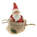 Gastgeschenk Glitzer Weihnachtsmann mit Sack im Jutebeutel, 65 mm