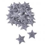 24 Filz Sterne in Grau, 50 mm