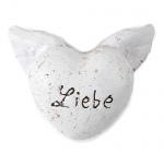 Kleines Vintage Herz -Liebe- mit Flügeln in Weiß