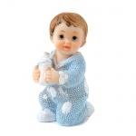 Kleiner Deko Baby Junge mit Babyflasche in Hellblau, 55 mm