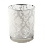 Teelichthalter Ornament in Weiß verspiegelt, 75 mm