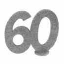 Jubiläumszahl 60 in Silber glitzernd zum Aufstellen, 10 cm
