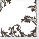 20er Pack Servietten Ornamentmotiv in Schwarz/Silber, 33 x 33 cm