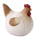 Keramik Huhn in Weiß/Braun, 13 cm