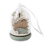 Kleine Glaskugel mit Meeresbewohnern aus Holz in Mint