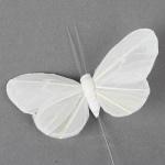Schmetterling am Draht in Weiß, 75 mm