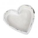 Herz Dekoschale Vintage in Weiß, 18 cm