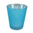 Teelichtglas grafisches Muster verspiegelt in Blau, 80 mm