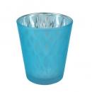 Teelichtglas Designmuster verspiegelt in Blau, 80 mm