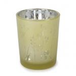 Teelichtglas Sommerwiese verspiegelt in Zartgelb, 70 mm