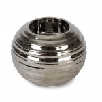 Keramik Teelichthalter Kugel in Silber geriffelt, 70 mm