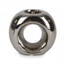 Keramik Teelichthalter Ring in Silber, 11 cm