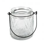 Glas Windlicht Retro mit Henkel Nr. 3, 90 mm