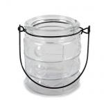 Glas Windlicht Retro mit Henkel Nr. 6, 90 mm