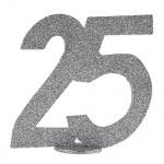 Jubiläumszahl 25 in Silber glitzernd zum Aufstellen, 10 cm