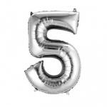 Folien Zahlenluftballon 5 in Silber, ohne Helium verwendbar