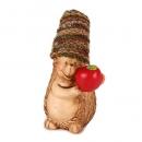Keramik Igel mit Wollmütze und Apfel, 14 cm