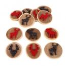 12 Streudeko Holzscheiben mit Filz Hirsch und Elch, 55 mm