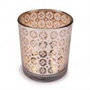 Teelichtglas verspiegelt mit Kristallen in Silber-Roségold, 80 mm