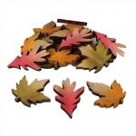 18 Holz Streudeko Herbstblätter, 50 mm