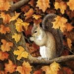 20er Pack Servietten Herbst Eichhörnchen, Ahornbaum, 33 x 33 cm