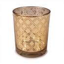 Teelichtglas mit Diamant Muster in Gold verspiegelt, 85 mm