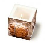 Eckige Kerze Gemütliche Weihnachtszeit, 80 mm