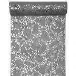 3 Meter Leinen Tischläufer Weihnachten Sterne in Grau/Silber, 28 cm