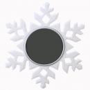 Teelichthalter Glitzer Eiskristall, Schneeflocke in Weiß-Perlmutt, 10 cm