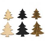 12 Holz Streuteile Weihnachten, Tannenbaum, 30 - 40 mm