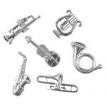 6 Streudeko Musikinstrumente in Silber, 40 mm