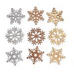 9 Holz Streuteile Weihnachten, Glitzer Eiskristalle, Schneeflocken, 40 mm