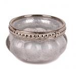 Teelichtglas Vintage mit Metallrand in Weiß-Silber, 60 mm