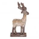 Holz Hirsch mit flauschigem Kunstfell, 19 cm