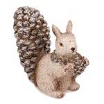 Eichhörnchen glitzernd mit Tannenzapfen, 80 mm