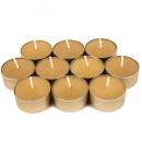 10 Teelichter, goldene Alu Hülle, 4 h Brenndauer