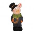 Gastgeschenk Silvester Schornsteinfeger Schwein mit Hufeisen, 60 mm