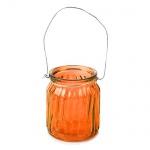 Teelichtglas mit Henkel in Orange, 75 mm