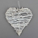 Rebenherz flach Vintage Hochzeit, geweißt, 15 cm
