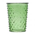 Glas Windlicht, Vase mit Noppen in Grün, 13 cm