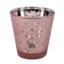 Teelichtglas Kleine Schmetterlinge in Hellrosa verspiegelt, 65 mm