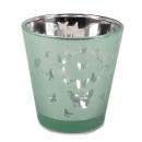 Teelichtglas Kleine Schmetterlinge in Hellgrün verspiegelt, 65 mm